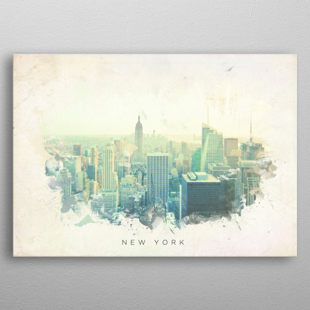 Watercolor abstract of New York metal poster