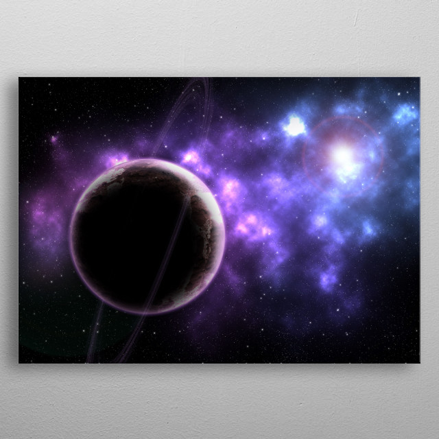 Beautiful simplicity, a lone planet neighbouring new stars. metal poster