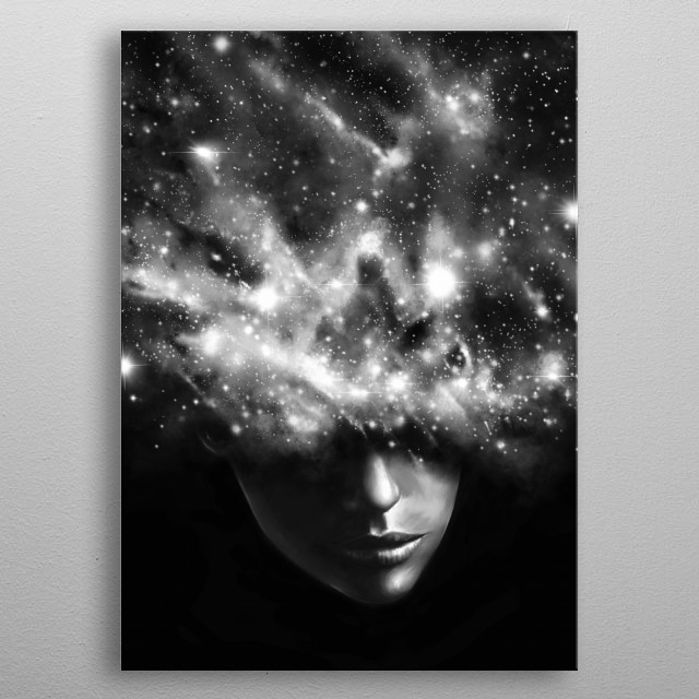 Everything I See - Painting portrait in digital with stars and space dust. metal poster