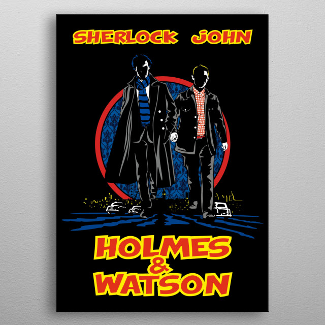 Sherlock Holmes and his sidekick Dr. Watson with Dick Tracy style poster from the film. metal poster