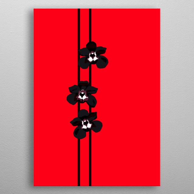 Three black orchid flowers (Cymbidium kiwi). metal poster
