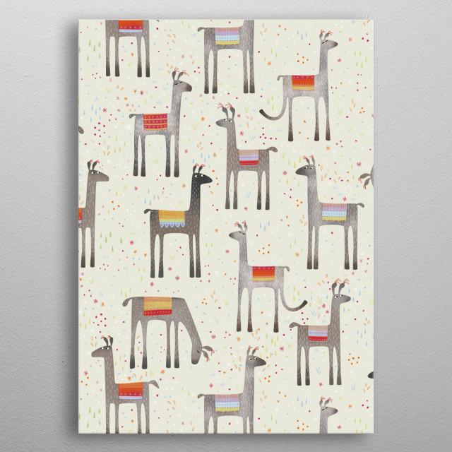 Lloads of llovely llamas llolloping near Llangollen metal poster