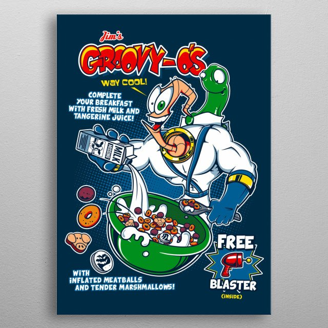 Jim's Groovy-Os cereal based on Earthworm Jim videogame  metal poster