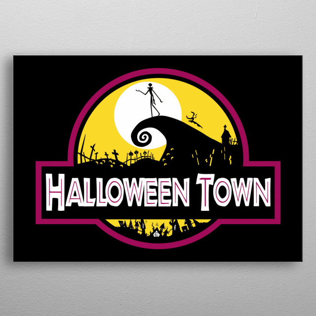 Welcome to Halloween Town! Where you will scream of terror and fun!  metal poster