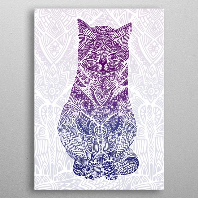 Zentangle Cat metal poster