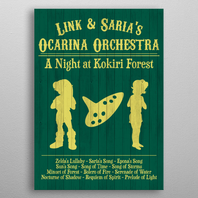 link and sharia's ocarina orchestra metal poster