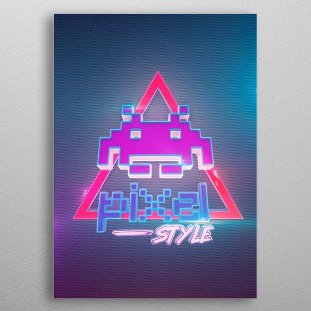 3D pixel 80s style (modeling, post-production, edition ... metal poster