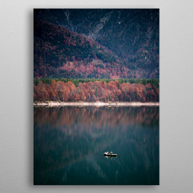 Fishing boat on lake in autum. metal poster