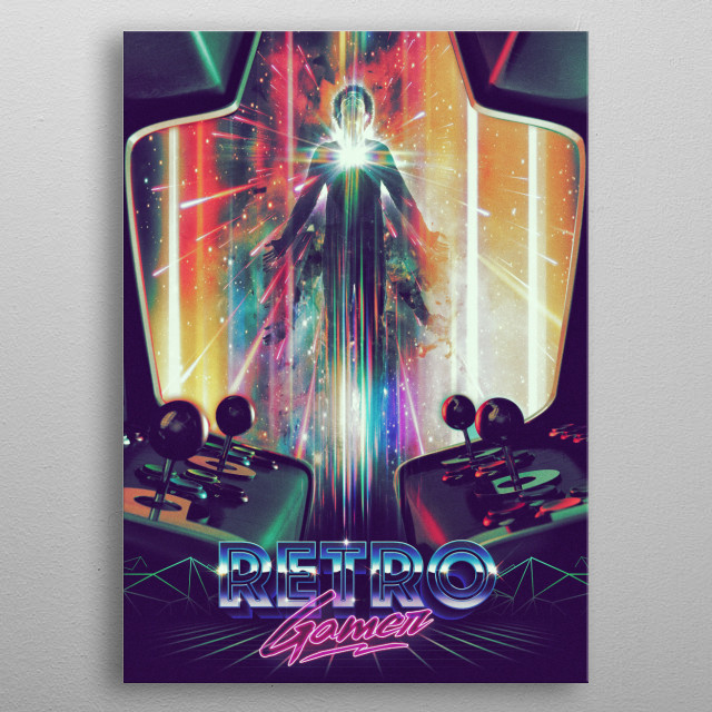 My retro gamer in an old but new arcade edition! metal poster