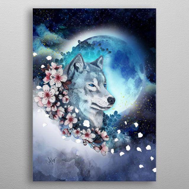 wolf and sakura in the moonlight metal poster