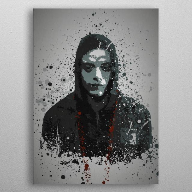 """""""FSociety"""" Splatter effect artwork inspired by Elliot from Mr Robot. metal poster"""