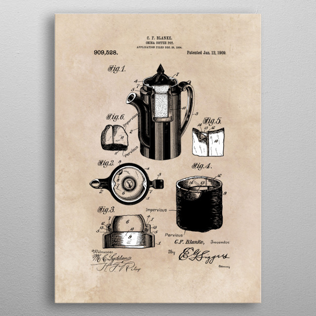 patent - China Coffee pot - Blanke - 1909 metal poster
