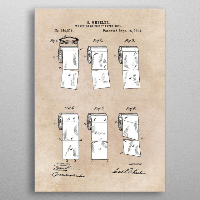 patent - Wheeler - Wrapping or Toilet paper roll - 1891 metal poster