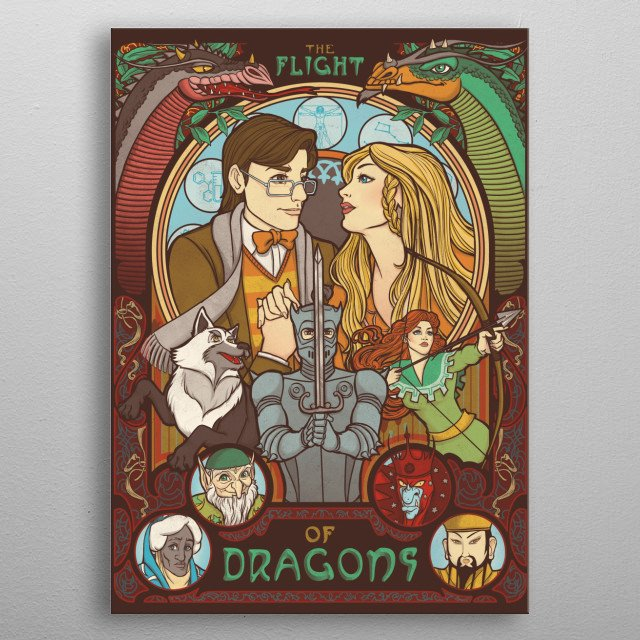 Flight of Dragons (brown edition) metal poster