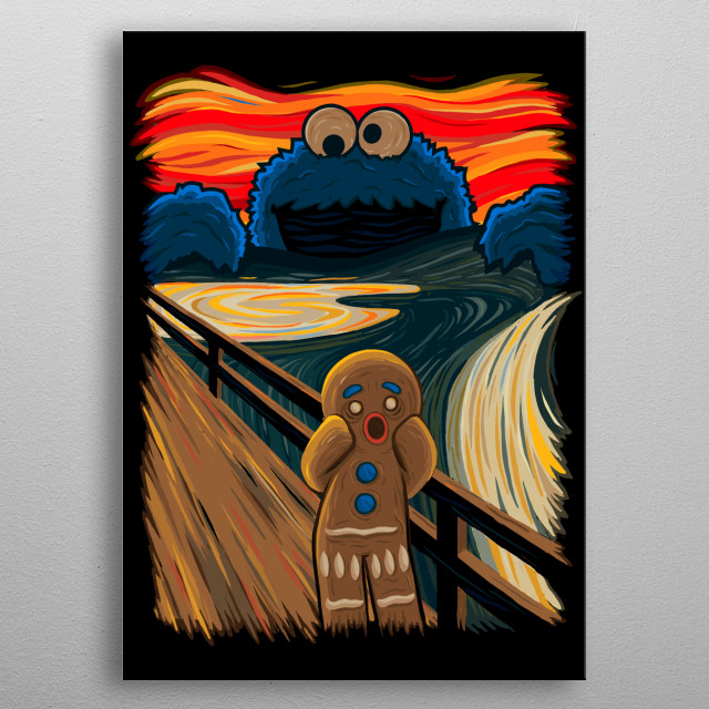 """The Cookie Monster spreads the panic in Munch's """"The Scream"""" metal poster"""