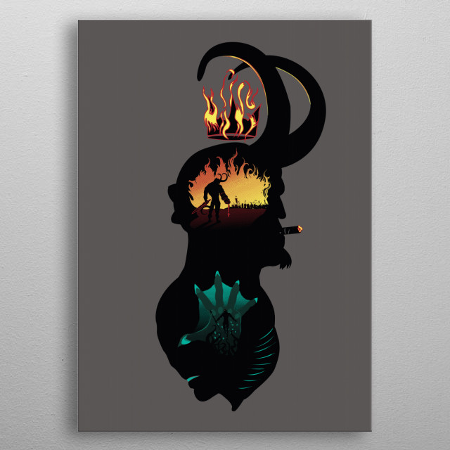 Hellboy and Abe Sapien. Inspired in the classic silhouette of Sherlock Holmes. metal poster