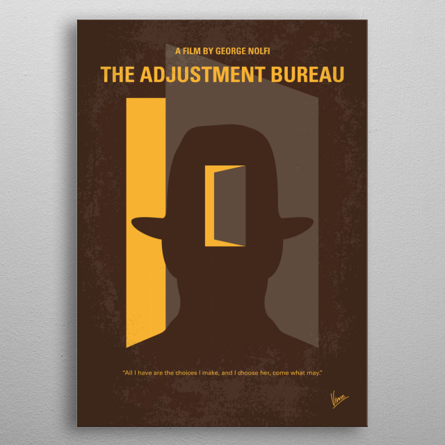 No710 My The Adjustment Bureau minimal movie poster  The affair between a politician and a contemporary dancer is affected by mysterious forc... metal poster