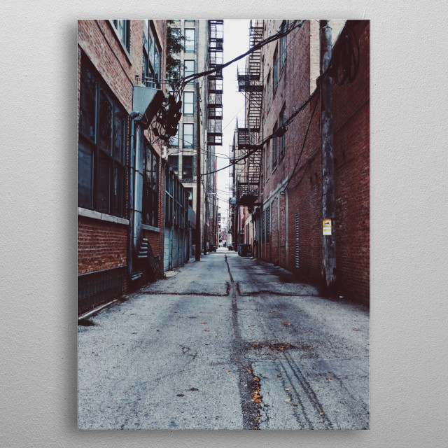 West Side, Chicago, Alleyway. metal poster