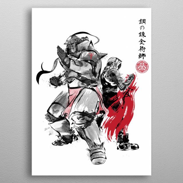 Brotherhood sumi-e metal poster