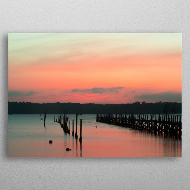 Sunset over Poole Harbour metal poster