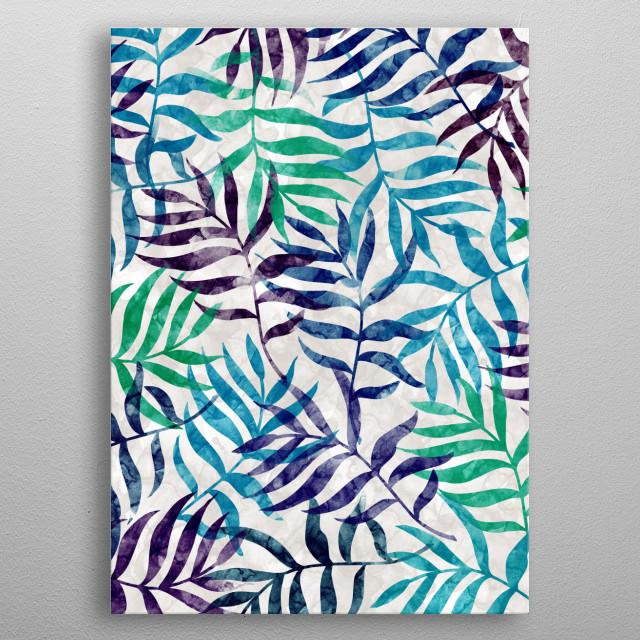 Watercolor Tropical Palm Leaves II by Amir Faysal   metal poster