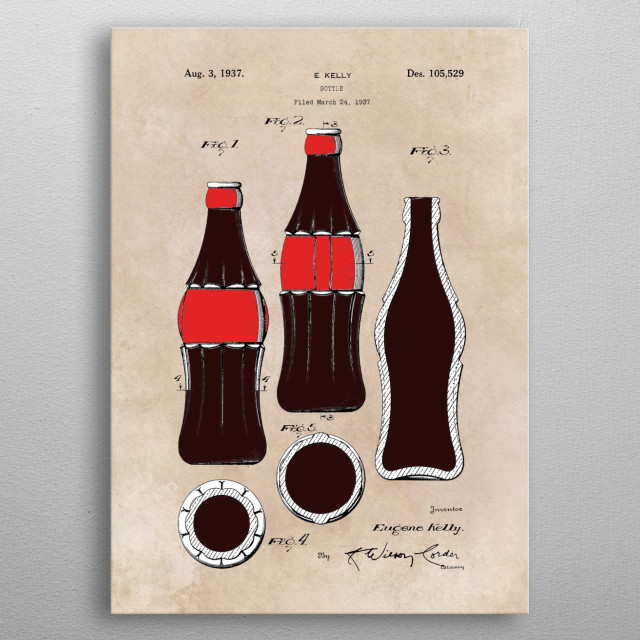 patent - Bottle - Kelly - 1937 metal poster