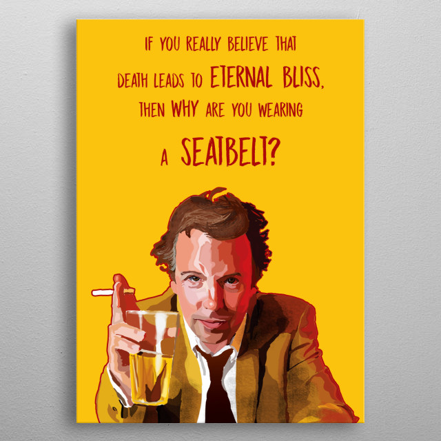 A digital portrait of the famous comedian Doug Stanhope with one of his punchline. metal poster