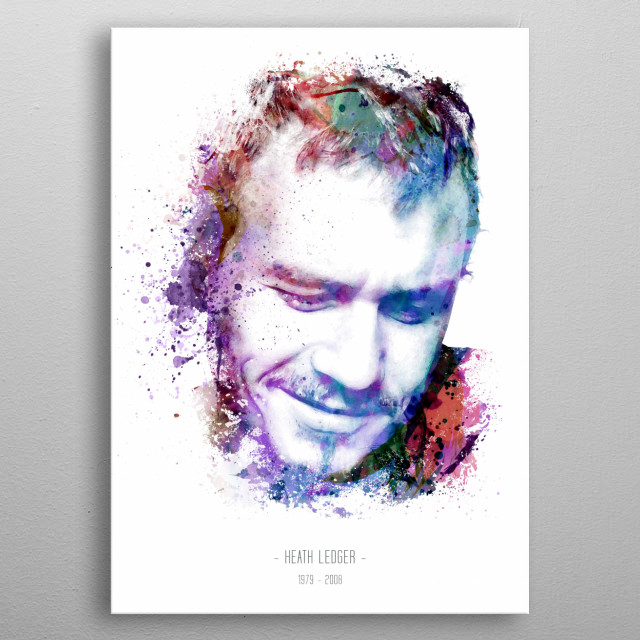 The iconic Heath Ledger done in a water color digital illustration style.  metal poster