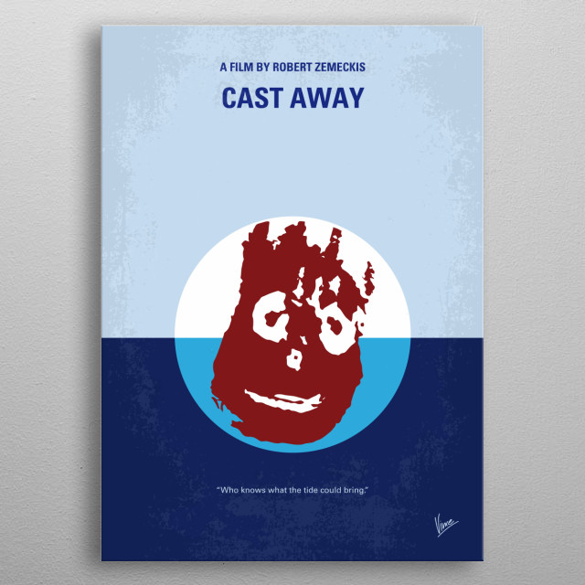 No718 My Cast-Away minimal movie poster  A FedEx executive must transform himself physically and emotionally to survive a crash landing on a ... metal poster
