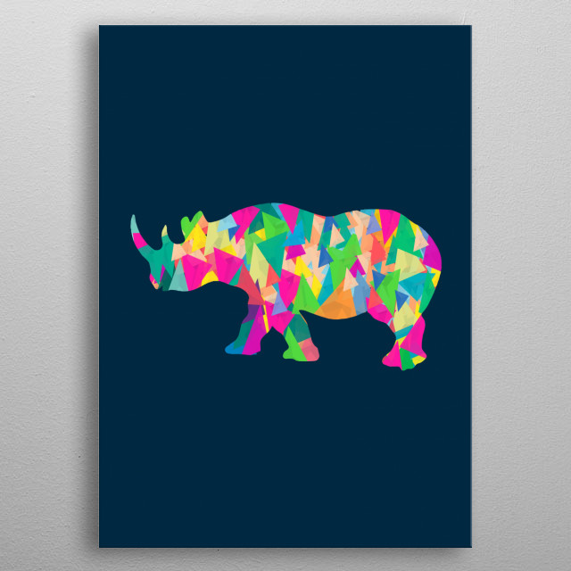 Abstract Rhino by Amir Faysal metal poster