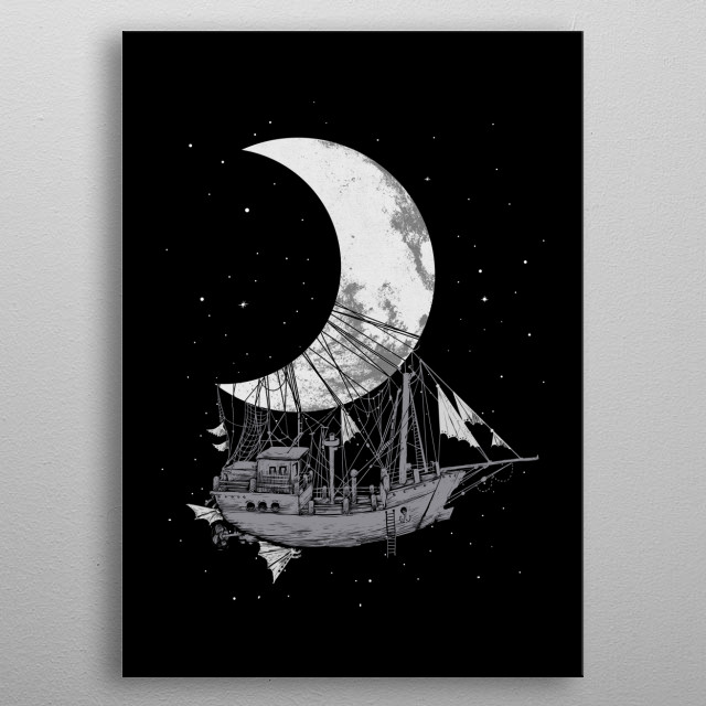 Moon Ship metal poster