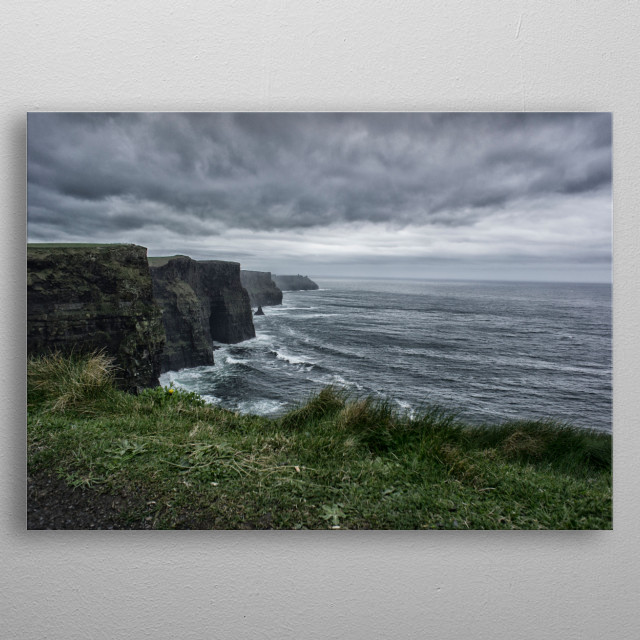 In Ireland storm approacching while on the cliffs of Moher metal poster