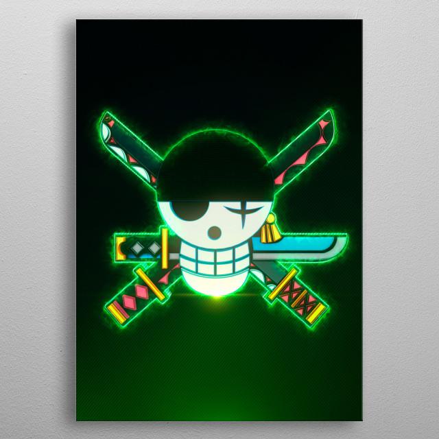 3D ZoroFlag Emblem (modeling, post-production, edition & render in After Effects) metal poster