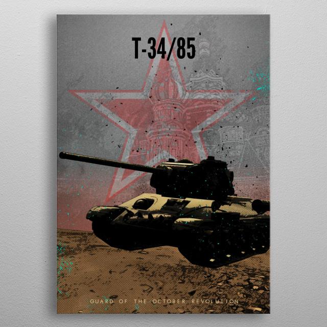 Achtung Panzer! Soviet T-34/85 metal poster
