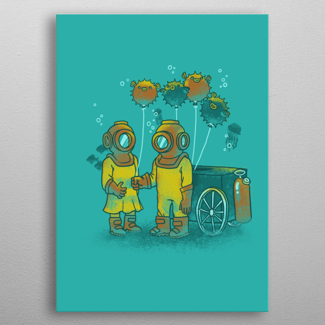 the balloon-fish vendor metal poster