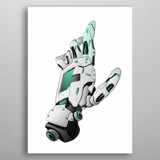 Reaching an Android metal poster