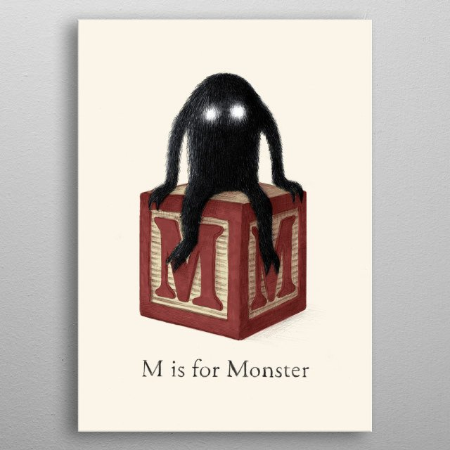 M is for Monster metal poster
