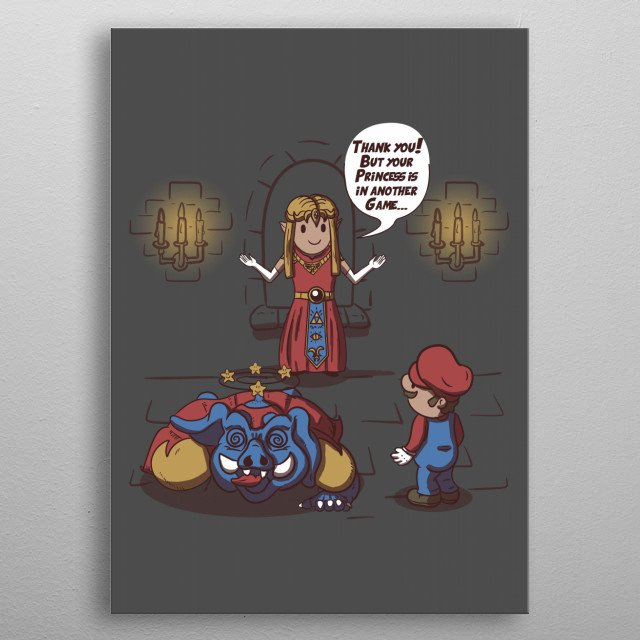 Mario is in another videogame. metal poster