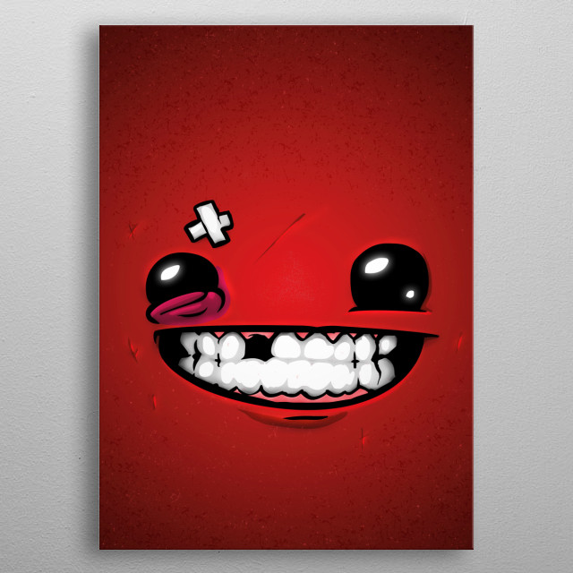 Super Meat Boy! Knight without armor or skin! FaceGame. Illustration with highlights and shadows in Illustrator and Photoshop. metal poster