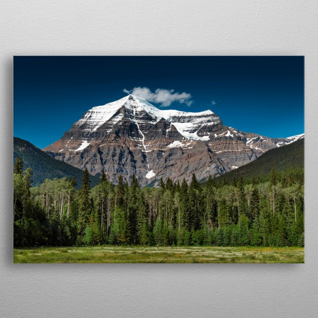 View overlooking the iconic Mount Robson. Tallest Peak in the Canadian Rockies.  metal poster