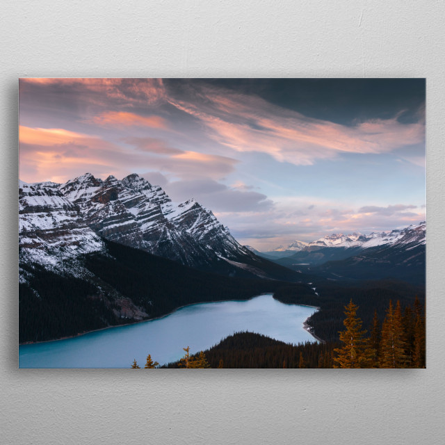 View overlooking the sunset at the Peyto Look out. Peyto Lake, Canada. metal poster