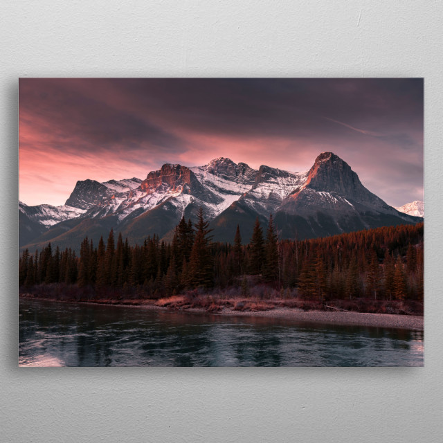 Landscape overlooking the Bow River & Canadian Rocky Mountains. Canmore, Alberta, Canada. metal poster