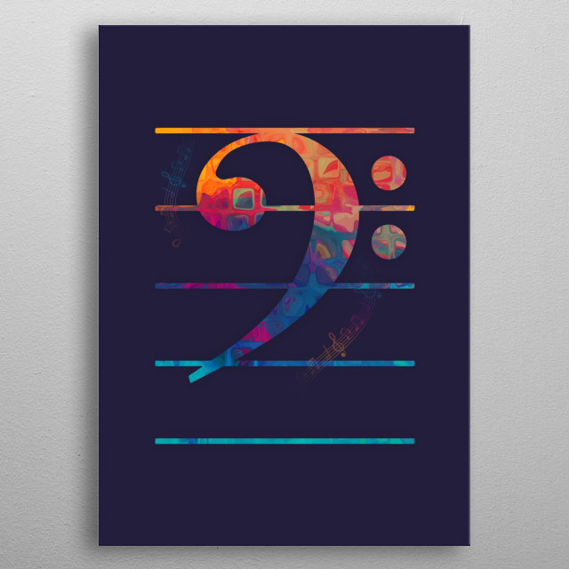Bass Clef Color metal poster