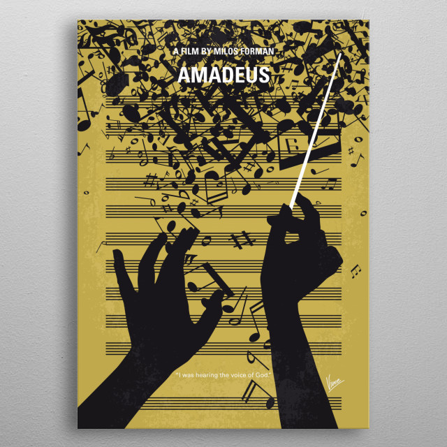 No725 My Amadeus minimal movie poster The incredible story of Wolfgang Amadeus Mozart, told by his peer and secret rival Antonio Salieri - now confined to an insane asylum. Director: Milos Forman Stars: F. Murray Abraham, Tom Hulce, Elizabeth Berridge  metal poster