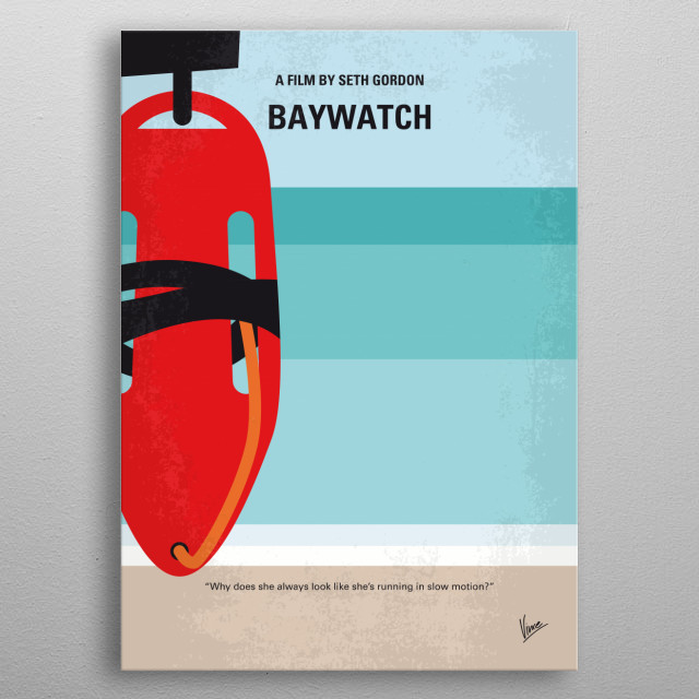 No730 My Baywatch minimal movie poster  Two unlikely prospective lifeguards vie for jobs alongside the buff bodies who patrol a beach in Cali... metal poster