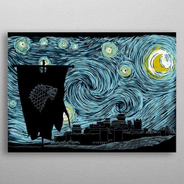 Starry Direwolf metal poster