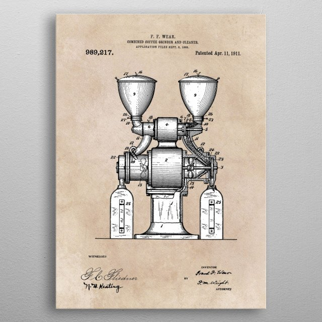 patent art Wear Combined Coffee grinder and cleaner 1911 metal poster