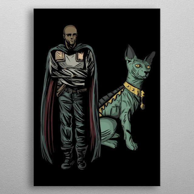 """the will and lying cat. from the comic """"saga"""" metal poster"""