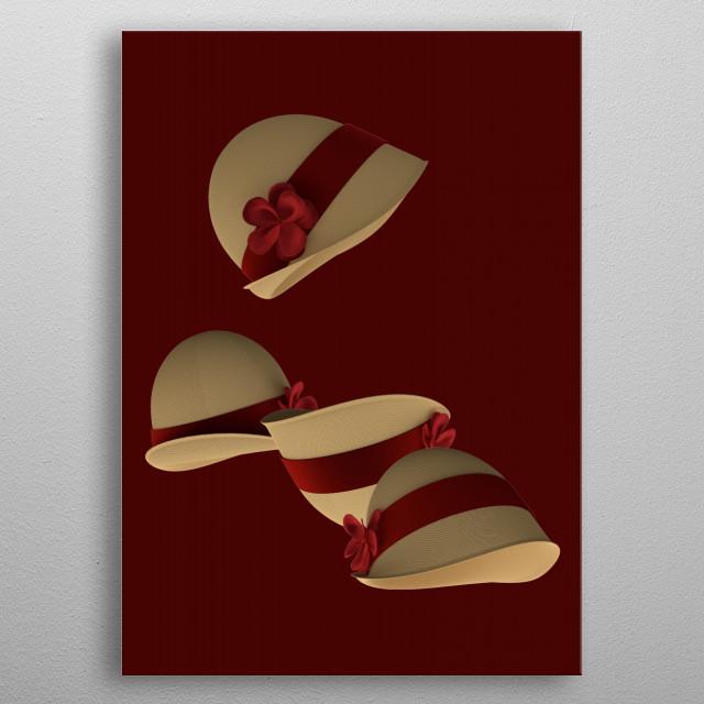 Realistic 3d-render of Cloche Hats. metal poster