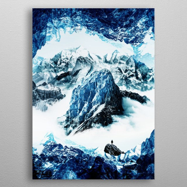 A frozen mountain landscape with a man standing on the peak. metal poster